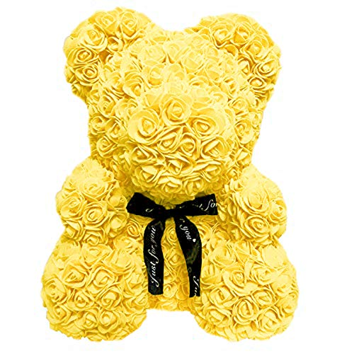 Homentum Rose Bear Teddy Forever Artificial Flowers are The Best Gifts for Valentine's Day, Anniversaries, Birthdays, Weddings (Small, Yellow) ()