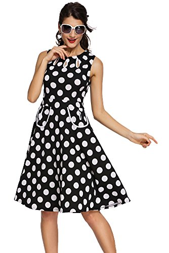Sisiyer Women's Vantage Polka Dot Bohemian Print Dress Keyhole with Belt Black Small