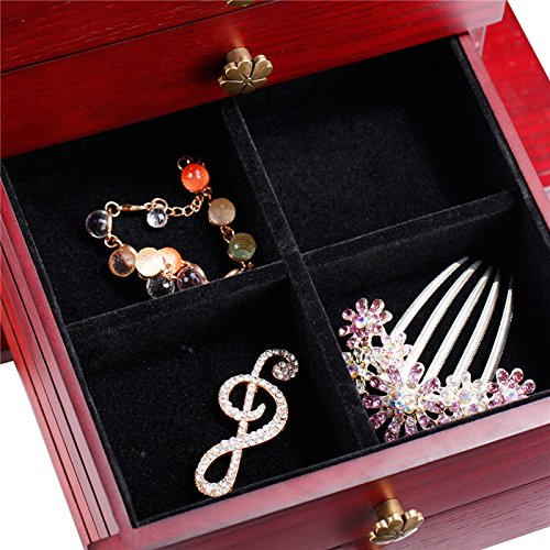 Wooden Jewelry Box Cabinet Armoire Ring Necklacel Gift Storage Box(CHERRY-2) by Rowling (Image #8)