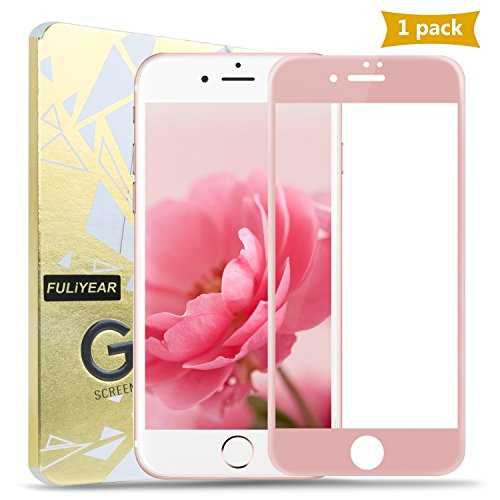 IPhone 6/6S, Screen Protector, kangchengrkd 4D High-Definition Silk Screen Soft Touch Screen Transparent Steel Film Full Coverage of Apple iPhone 6/6S( Rose gold) (Silkscreen Pink)
