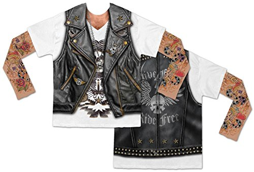 Faux Real Men's Biker Tee with Tattoo Mesh Sleeves, Black/White, Large