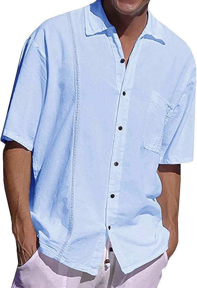 Fueri Camisa para hombre, de manga corta, de lino, de corte regular, para la playa, de lino y algodón, monocolor
