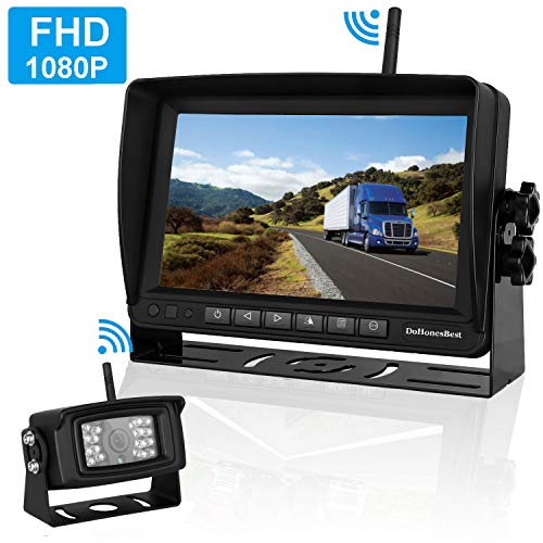 """FHD 1080P Digital Wireless Backup Camera and Monitor Kit High-Speed Observation System for RVs/Motorhomes/Trucks/Trailers with 7"""" Monitor Driving/Reversing Use IP69K Waterproof Super Night Vision"""