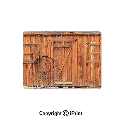 Anti-Slip Mouse Pad,Ancient West Rural Town Rustic Weathered Wooden Wall Door Wagon Wheel in Front Image Mouse Mat,Non-Slip Rubber Base Mousepad,7.9x9.5 inch,Peru