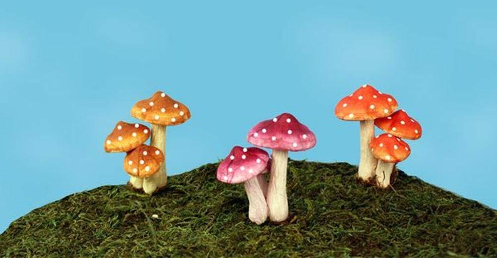 Land & Sea Mini Fairy Mushroom Picks Set of 3 FA33