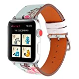 YOSWAN Bracelet for Apple Watch, National Black White Floral Printed Leather Watch Band 38mm 42mm Strap for Apple Watch Flower Design Wrist Watch Bracelet (Peony Flower, 38mm)