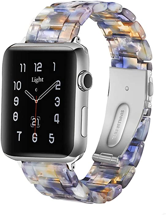Light Apple Watch Band - Fashion Resin iWatch Band Bracelet Compatible with Copper Stainless Steel Buckle for Apple Watch Series SE Series 6 Series 5 Series 4 Series 3 Series 2 Series1 (Sunlight Ocean Blue, 38mm/40mm)