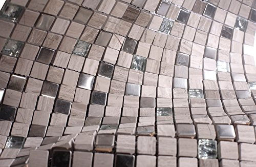 Light Grey Luxury Square Pebble Stone with Stainless Steel Mosaic Tiles for Bathroom and Kitchen Walls Kitchen Backsplashes