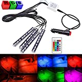 niceEshop(TM) 4pcs LED Car Interior Underdash Lighting Kit Multi-color 7 Color Flexible Accent Glow Neon Strips Atmosphere Lights with Wireless Remote Control and Car Charger