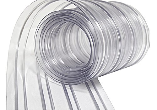Resilia - Plastic Vinyl Strip Curtain for Walk In Freezers, Coolers & Warehouse Doors - Clear, 120 mil Thick Between Ribs, 12 Inch x 100 Foot Roll