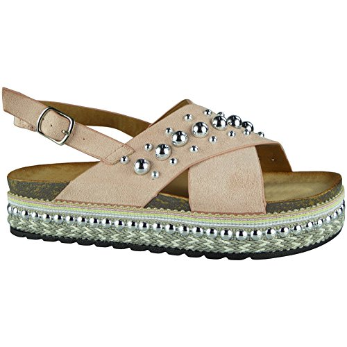 Buckle 3 Shoes Look Hessian Studded Ladies Sandals Size Womens Loud 8 Pink Wedge Platform Slingback wXZqHZ