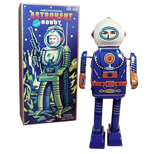 (Off the Wall Toys Rare Find Retro Tin Toy Mechanical Astronaut Robot Collectible Wind-Up Figure)