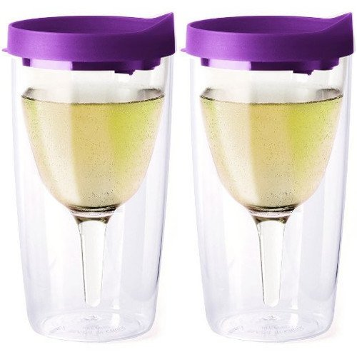 (Vino2Go 10 Ounce Purple Acrylic Insulated Wine Tumbler with Slide Lid, Set of 2)
