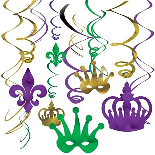 [Vibrant Mardi Gras Party Crown and Mask Swirl Ceiling Decorating Kit, Foil, Pack of 12] (Mardi Gras Decorations)