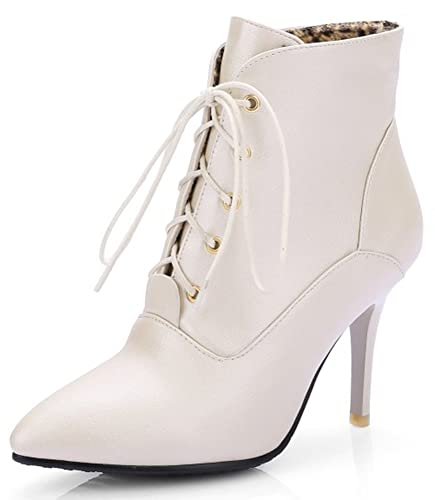 Women's Sexy Plain Pointed Toe Lace-up Booties Stiletto High Heel Short Ankle Boots Shoes
