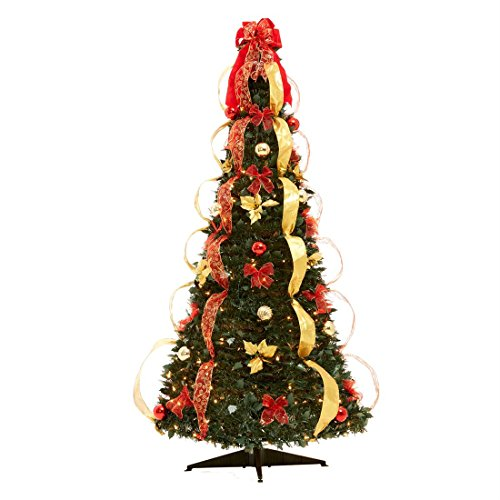 Brylanehome Flat-To-Fabulous Fully Decorated, Pre-Lit 6-Ft. Christmas Tree (Red Gold,0) Un-lit Trees