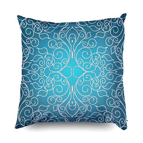 Kid Pillow Covers,Shorping Zippered Covers Pillowcases 16x16 Inch Throw Pillow Covers Floral hand drawn damask seamless pattern Vector light blue background wallpaper illustration with w for Home Bedd ()