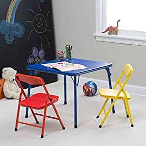 showtime 3 piece childrens folding table and chair set multi color kitchen dining. Black Bedroom Furniture Sets. Home Design Ideas