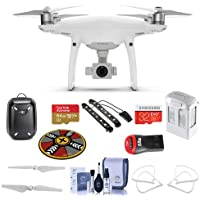 DJI Phantom 4 Quadcopter with 4K Camera - Bundle - 64/32GB MicroSDXC Cards, Spare Battery, Hardshell Backpack, Quick-Release Propellers, Propeller Guard, Collapsible Pad, Polar LED Light Bars, More