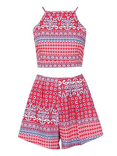 Persun Womens Chevron Shorts Two piece