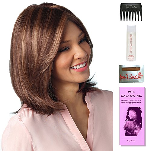Samantha by Amore, Wig Galaxy Hair Loss Booklet, 2oz Travel Size Wig Shampoo, Wig Cap, & Wide Tooth Comb (Bundle - 5 Items), Color Chosen: Iced Mocha by Amore & Wig Galaxy