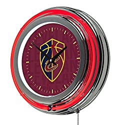 Trademark Gameroom NBA1400-CC3 NBA Chrome Double Rung Neon Clock - City - Cleveland Cavaliers