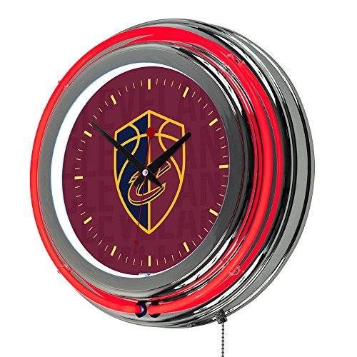 Trademark Gameroom NBA1400-CC3 NBA Chrome Double Rung Neon Clock - City - Cleveland Cavaliers