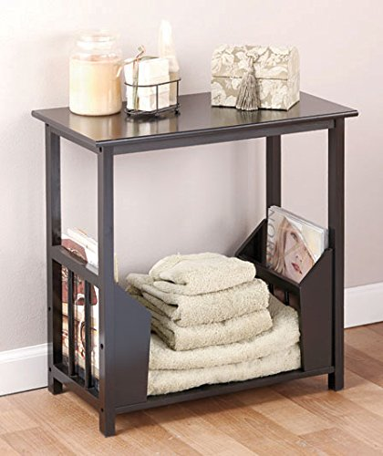 Black Wooden End Table with Double Magazine Rack