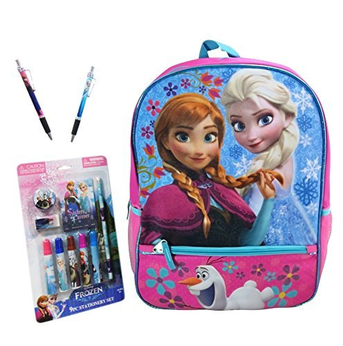 Frozen 16'' Backpack Bundle of 3, Includes 2- Frozen Jazz Pen and Frozen 9pc Stationery Set on Blister Card