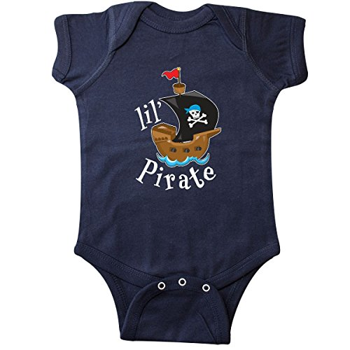(inktastic - Lil' Pirate Pirate Ship, Infant Creeper 12 Months Navy Blue)