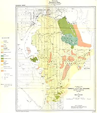 Amazon.com: CANADA. Geological map of a Townships lake Timiskaming on