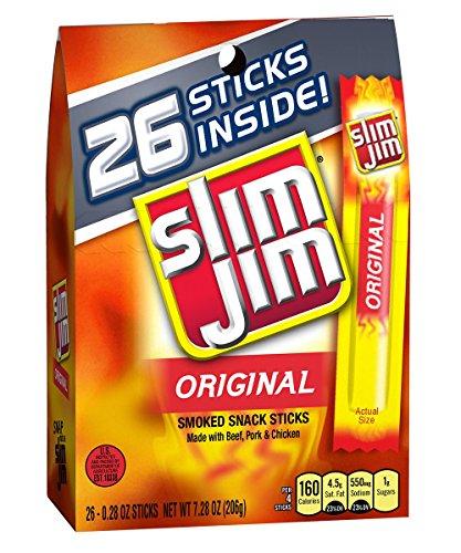 Slim Jim Smoked Meat Sticks, Original, .28 Oz., 26-Count