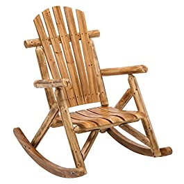 Log Cabin Rustic Rocker with Star Porch Arm Rocking Chair