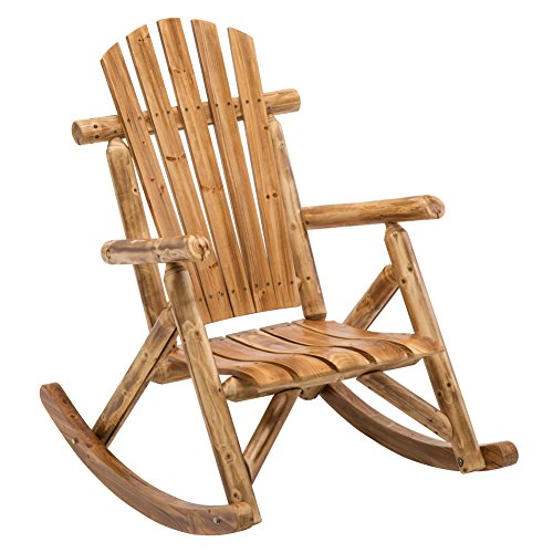 Antique Wood Outdoor Rocking Log Chair Wooden Porch Rustic Log Rocker ()