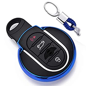 Azul Funda de TPU Suave para Llave + Llavero para Coche BMW Mini Cooper F54 F55 F56 F57 F60 3/4-Buttons Smart Key