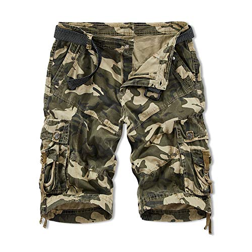 XIONG TAI Men's Straight Loose Fit Twill Cargo Shorts Work Shorts with Belt Multi-Pocket (30, CAMO)