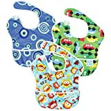 Bumkins SuperBib, Baby Bib, Waterproof, Washable, Stain and Odor Resistant, 6-24 Months, 3-Pack - Circles, Owls, On The Go