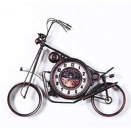 ZHUNSHI Relojes de moto de hierro y creativo reloj pared reloj vintage hecho a mano antiguo