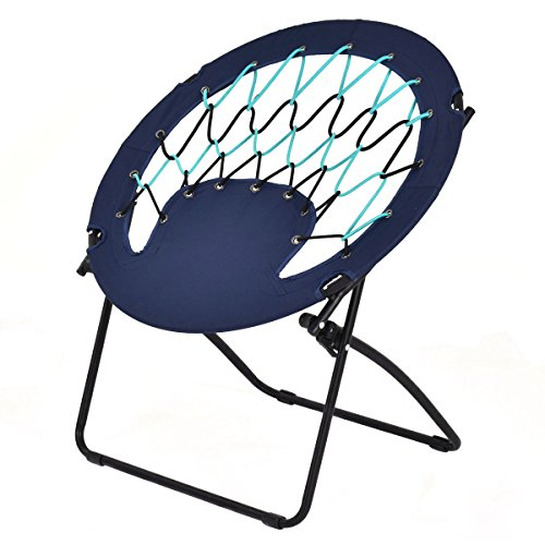 Round Bungee Chair Folding Outdoor Camping Hiking Garden Patio Steel Frame Blue