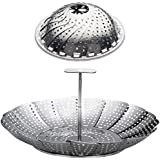 """100% Stainless Steel Vegetable Steamer Basket/Insert for Pots, Pans, Crock Pots & more. 6.4"""" to 10.4"""" - Bonus Screw in Extension Handle included. By Sunsella"""