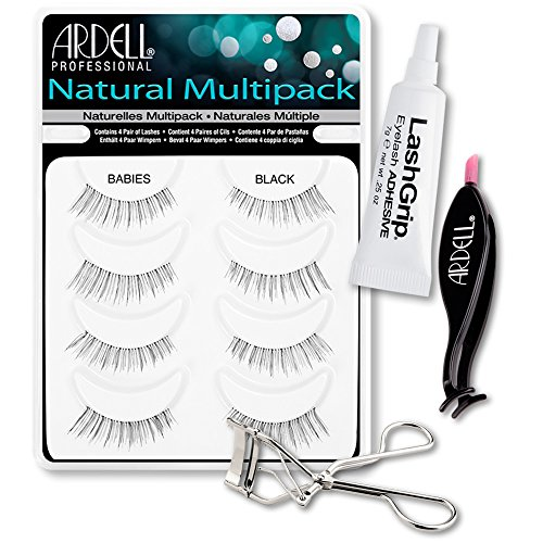 Ardell Fake Eyelashes Babies Value Pack - Natural Multipack Babies (Black), LashGrip Strip Adhesive, Dual Lash Applicator, Cameo Eyelash Curler - Everything You Need For Perfect False Eyelashes