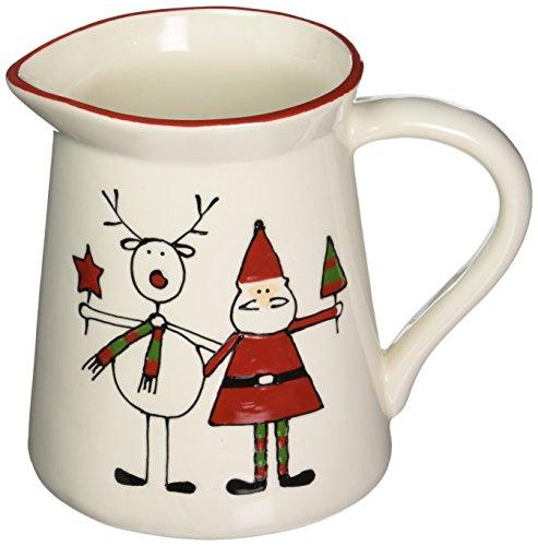 Pavilion Pitcher (Pavilion Gift Company Holiday Hoopla Santa and Reindeer Ceramic Christmas Pitcher, 5.75