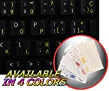 SPANISH (LATIN AMERICAN) KEYBOARD STICKERS WITH YELLOW LETTERING TRANSPARENT BACKGROUND FOR DESKTOP, LAPTOP AND NOTEBOOK