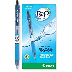 Pilot B2P - Bottle to Pen - Retractable Ball Point Pens Made from Recycled Bottles, Dozen, Fine Point, Black (32600)