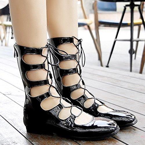 COOLCEPT Mujer Moda Tacon De Vaquero Encaje Planos Vestir Bombas Zapatos (40 EU, Pink)