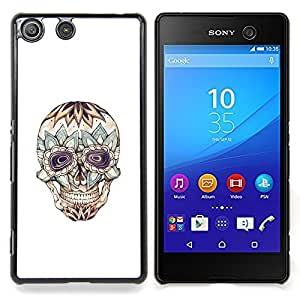 - Floral Crazy Skull Death Tattoo Ink - - Snap-On Rugged Hard Cover Case Funny HouseFOR Sony Xperia M5