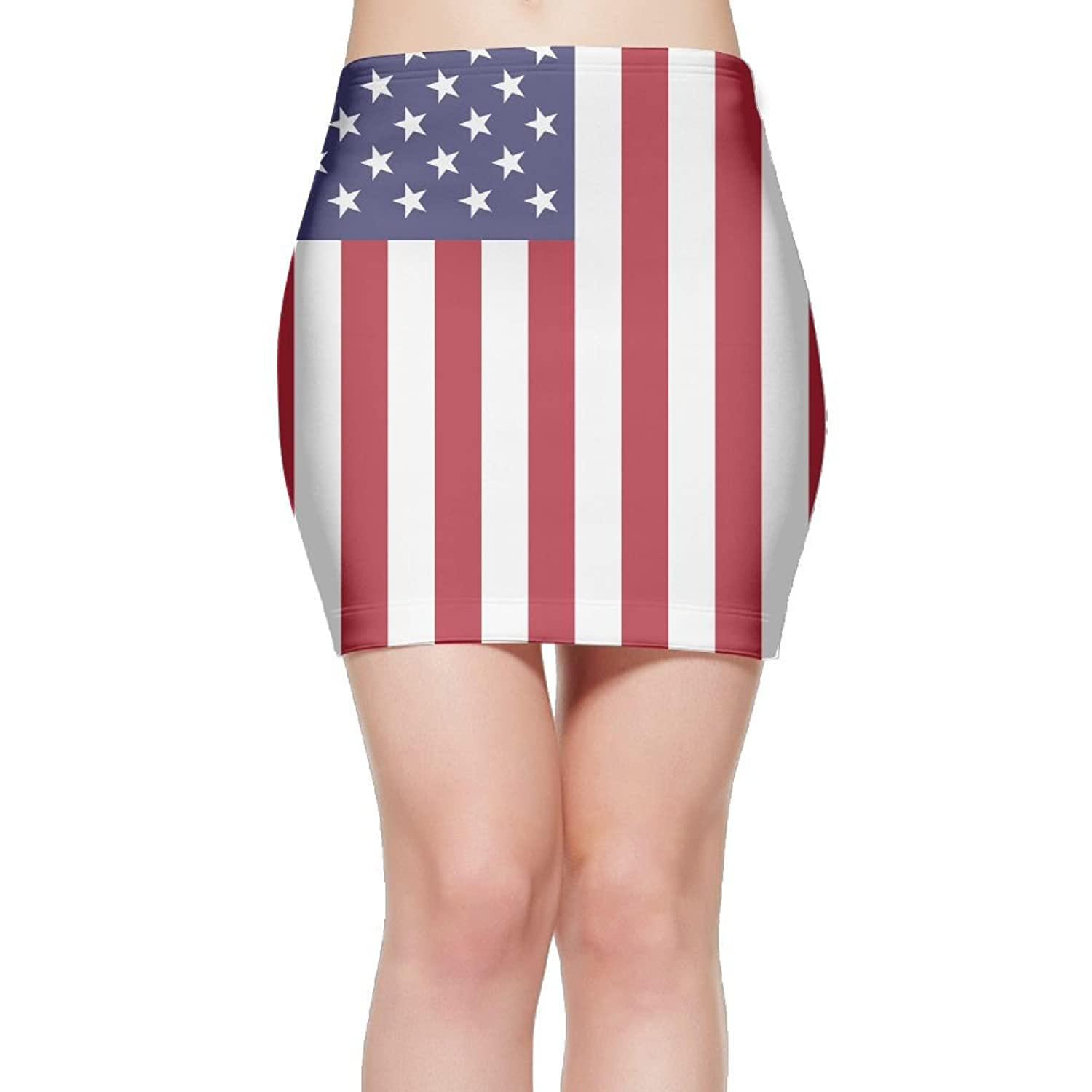 FASHIONGI USA Flag Fashion Elastic Waist Bodycon Casual Stretchy Pencil Mini Skirt Above Knee