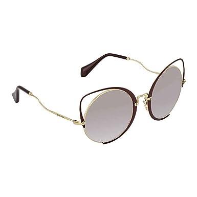 733701739e3 Amazon.com  Miu Miu MU51TS R1J2H2 Gold Brown MU51TS Round Sunglasses ...
