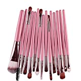 Makeup Brush Set,Neartime 15 pcs Eye Shadow Foundation Eyebrow Lip Brushes Beauty Brush Tool (Pink)