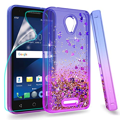 ZingCon Suit for Alcatel 5044R Case, Alcatel Verso Phone Case, Glitter Case Quicksand Bling Shine,[HD Screen Protector] Shockproof Hybrid Hard PC Soft TPU Protective Cover-Blue/Purple